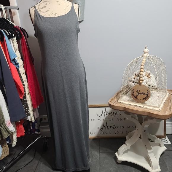 Merona Maxi Floor length Dress Grey Shimmer SZ L